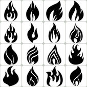 Fire Flames Icons Set, Vector Illustration — Stock Vector