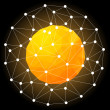 Orange Hot Star, Spherical Polygonal Design.Vector Illustration. — Stock Vector