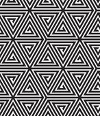Triangles, Black and White Abstract Seamless Geometric Pattern, — Stock Vector