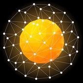 оранжевый горячая звезда, сферической полигональной design.vector иллюстрация. — Cтоковый вектор