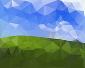 Green Field and Sky, Polygonal Design.Vector Illustration Backgr — Stock Vector
