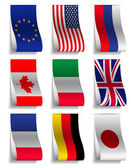 G8 and EU Flags Ribbon Labels, Vector Illustration — Stock Vector