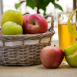 A basket of apples and a glass — Stock Photo #13654727