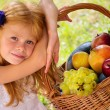 Girl sitting on the grass with a basket of fruit — Stock Photo