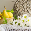 Still life with pears and flowers — Stock Photo