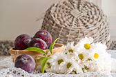 Still life with plums and flowers — Stock Photo