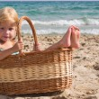 The girl in the basket — Stok fotoğraf