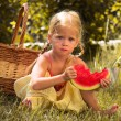 Stock Photo: Girl and watermelon