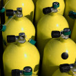 Stock Photo: Stack of nitrox scubair tanks