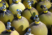 A stack of nitrox scuba air tanks — Stock Photo