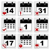 Ikony kalendarza — Wektor stockowy