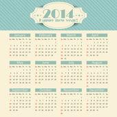 Calendar for 2014 — Stock Vector