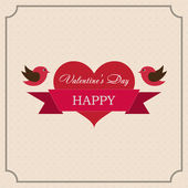 Greeting card Happy Valentine's Day in the old style frame — Stock Vector