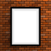 Empty frame on brown brick wall — Stock Vector