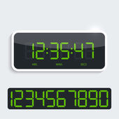 Digital clock with shiny plastic panel. additional figures — Vecteur