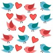 Birds in love seamless pattern in red and blue — Stock Photo