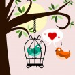 Two birds in love one is free and other is in cage - Stock Photo