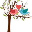 Birds in love on branch with heart above them — Stock Photo #13389164