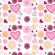 Floral and heart background - Stock Photo