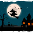 Stock Photo: Illustration of scary background at night with cemetery and witch