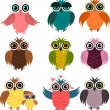 Six cartoon owls — Stock Photo