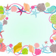 Royalty-Free Stock Photo: Different colors seashell frame in cartoon style with colorfully seashells