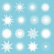 Illustration of the 16 different snowflake illustrations — Stock Photo