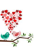 Birds in love on branch with heart above them — Stock Photo