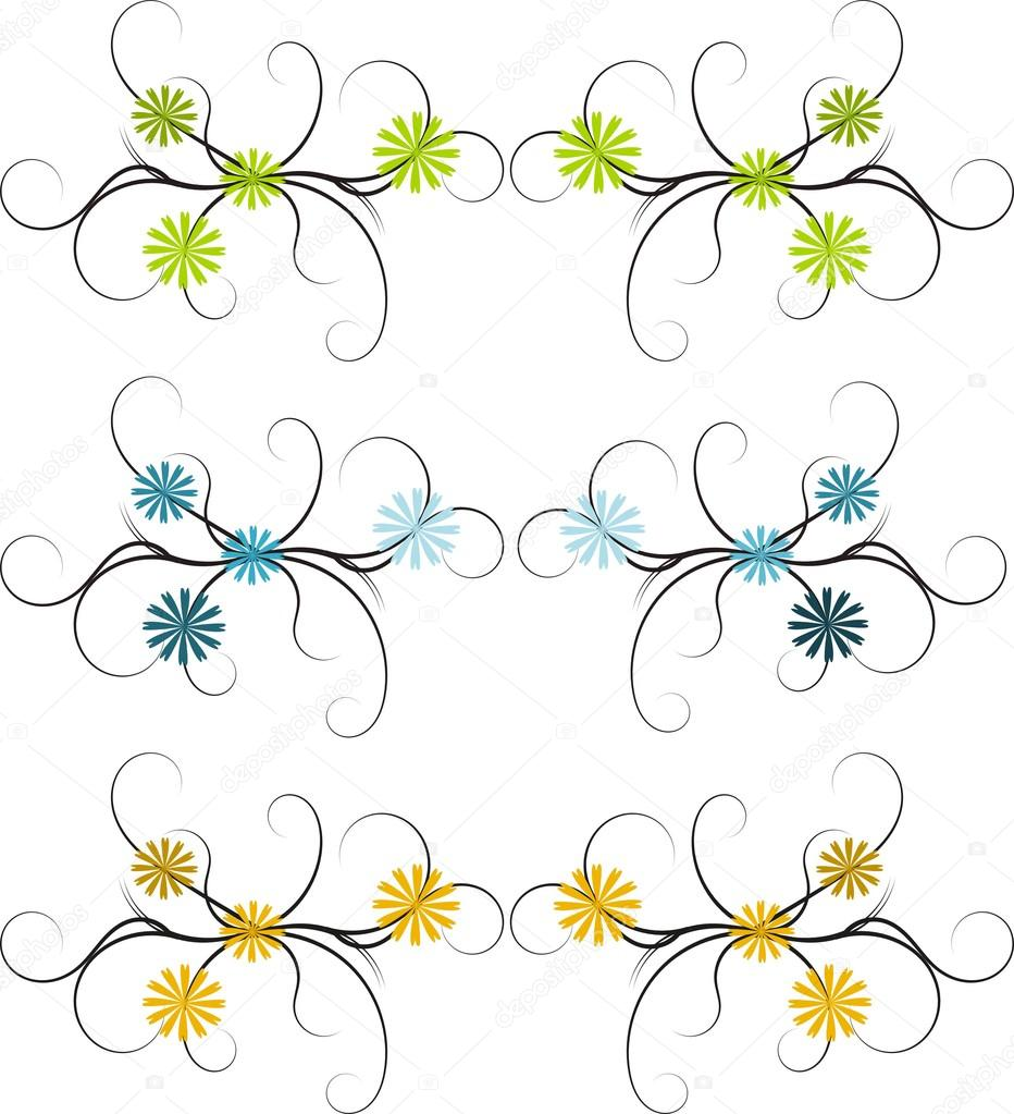 Three different floral abstract floral borders stock image