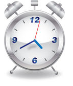 Silver alarm clock on white background — Stock Photo