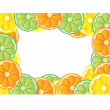 Foto Stock: Illustration of frame made of fresh fruits, lemon, orange and lime