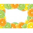 Stock Photo: Illustration of frame made of fresh fruits, lemon, orange and lime