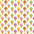 Seamless background with ice creams in cone - Stock Photo