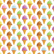 Seamless background with ice creams in cone — Stock Photo