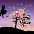 Stock Photo: Abstract illustration of fairy and magic tree in summer night