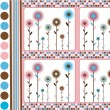 Stock Photo: Abstract background with dots and flowers in retro style