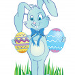 Cute easter banny with eggs in hands — Foto de Stock