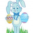 Cute easter banny with eggs in hands — 图库照片