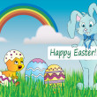 Stock Photo: Easter card in nature with bunny,eggs and chick