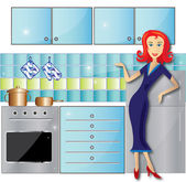 Illustration of the kitchen and woman — Stock Photo