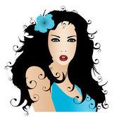 Illustration of prithee girl with flower in hair — ストック写真