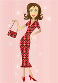 Illustration of woman in retro dress with matching purse — Stock Photo
