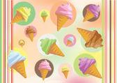 Barevně ilustrace zmrzliny v kuželu — Stock fotografie