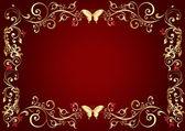 Marco flores rojas en estilo vintage — Foto de Stock