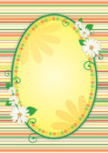 Easter egg shaped yellow frame or banner with flowers — Stock Photo