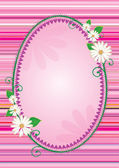 Easter egg shaped frame or banner with harts and flowers — Stock Photo
