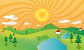 абстрактный иллюстрация горный пейзаж с солнцем и сосны — Стоковое фото