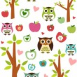 Cute owls, trees and apples pattern — Stock Photo