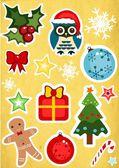 Sada vánočních samolepek — Stock fotografie