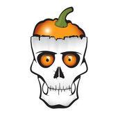 Halloween Pumpkin Skull — Stock Vector